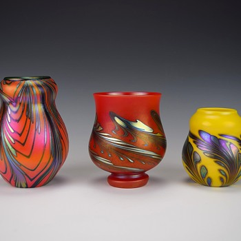 TRIO OF CHARLES LOTTON MANDARIN VASES FOR KEVIN