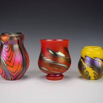 TRIO OF CHARLES LOTTON MANDARIN VASES FOR KEVIN - Art Glass