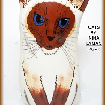 For TALLCAKES -- CATS BY NINA  ( Vase ) - Art Pottery