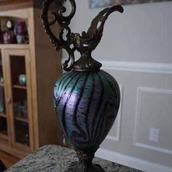Victorian iridescent glass Ewer