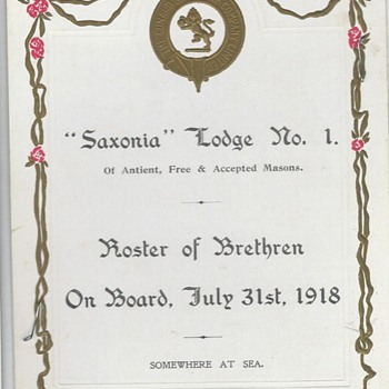 """Saxonia"" SS Lodge No.1  July 31, 1918  (Somewhere at Sea)WW1"