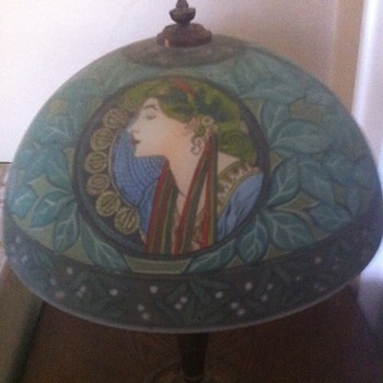 Fantastic Reverse Painted Art Nouveau Lamp