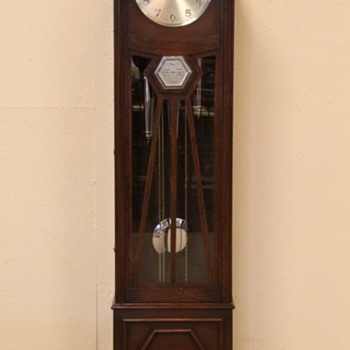 Mauthe Art Deco Tall Case Clock With  Barometer and Walnut Case