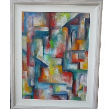 "Colorful Abstract Oil On Masonite Panel /23""x 29""  Framed/ Signed ""Kieffer""/Circa 20th Century - Visual Art"