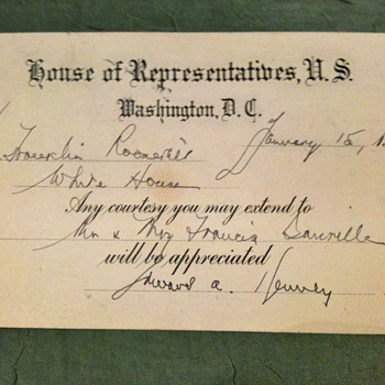 A Signed Card - House of Representatives, U.S..... Dated 1934