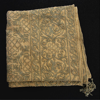 Embroidered Linen Wall Panel Jacobean Design Scrolls, Lions - Rugs and Textiles