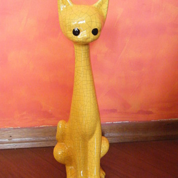 "20 inch tall ""Cracked/crazing Pottery""? yellow bisque? cat"