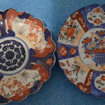 Two handpainted imari plates