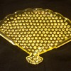 STUNNING AND RARE FENTON TOPAZ [VASELINE] OPALESCENT HOBNAIL FAN TRAY