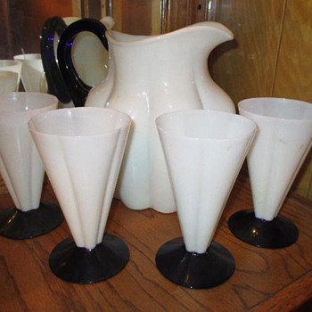Morgantown Melon pattern alabaster and blue pitcher and four tumblers