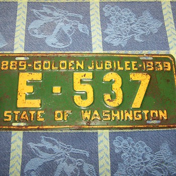 1939 Golden Jubilee Washington State License Plate - Signs