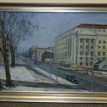 """Looking Down Penna. Ave. (Dept. of Labor)"", WPA.1935.8, 1935 Painting by Dorsey Doniphan - Visual Art"