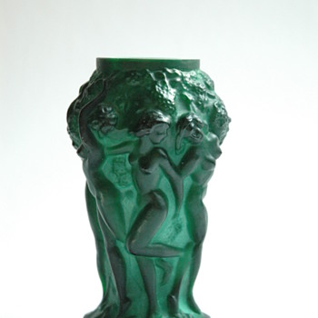 art deco bohemian malachite  cristal vase INGRID by HEINRICH HOFFMANN