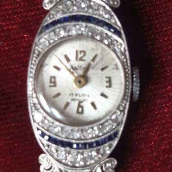 Art Deco 14K white gold watch with diamonds and saphhires