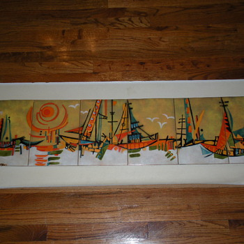 ENAMEL OVER COPPER MID-CENTURY MODERN WALL ART