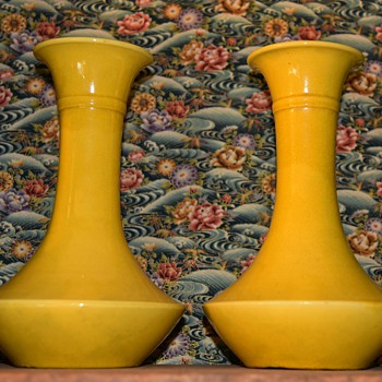 Two Large Art Deco Awaji Vases