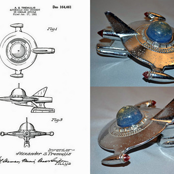 Flying Saucer or Spacecraft Hood Ornament, by Alex Tremulis, Sept.4, 1951 - Art Deco