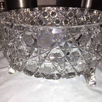 Three footed cut glass bowl - intricate - Glassware