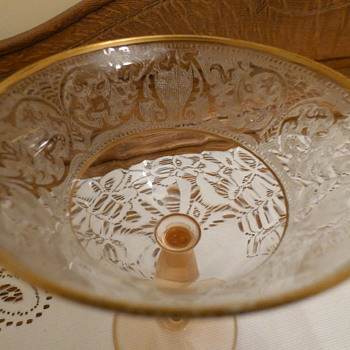 Pink Depression Glass with Gold Edging