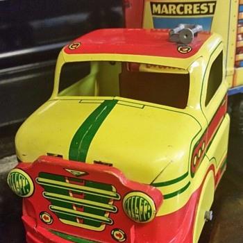 Sharing My Toys - Marx Tin Litho Livestock Hauler #303