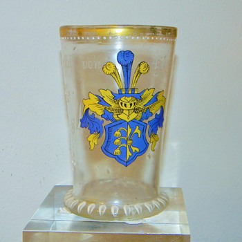 Antique Bohemian Enamelled Family Crest Cup ca 1594 HELP - Art Glass