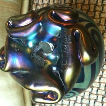 Blue Swirl Tiffany Style Perfume Bottle  - Art Glass