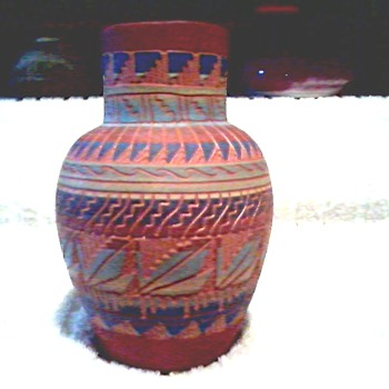 Navajo Red Clay Vase with Incised Decoration / Signed Nelson-Navajo / Unknown Age