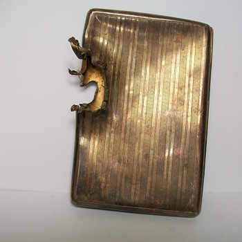 Cigarette Case with Bullet Hole or Shrapnel - Tobacciana