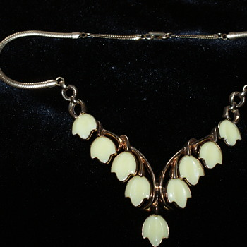 Trifari Necklace:  Dogwood, Poured Glass - Costume Jewelry