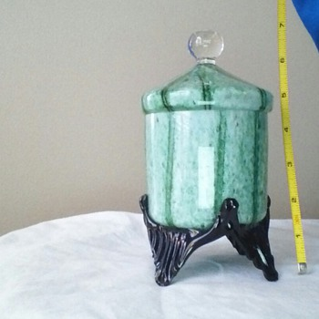 Wonderful green glass with white stripes. - Art Glass