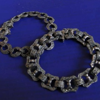 Marcasite bracelets for Hel1 circa 1990's: 1 of 2 - Silver