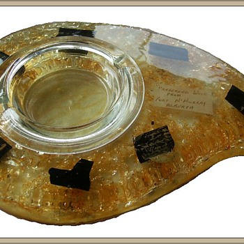 Vintage LUCITE and WOOD Ashtray