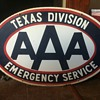 Texas division AAA 2 sided porcelain sign