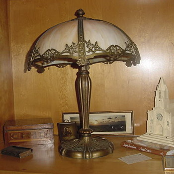 Slag Glass Shade & Lamp  - Lamps
