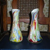 Bohemian multicolored pair vases 1950s or 1960s.