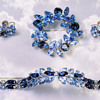 Vintage Signed SHERMAN Rhinestones Demi Parure Set of BLUE BROOCH, SEMI RIGID BRACELET,& EARRINGS
