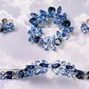 Vintage Signed SHERMAN Rhinestones Demi Parure Set of BLUE BROOCH, SEMI RIGID BRACELET,& EARRINGS