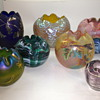 A Collection of Bohemian Glass Rose Bowls