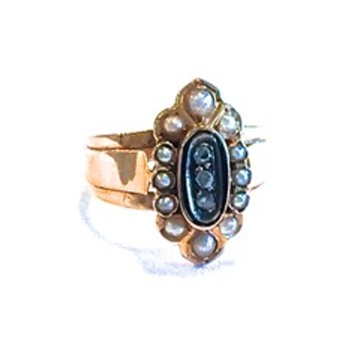 Antique 18 ct ring with seed pearls and mine cut diamond stones and black enamel