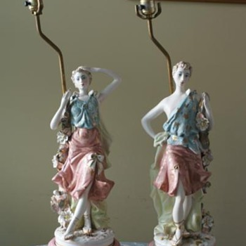 two italian lamps ceramic
