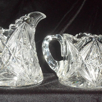 VINTAGE ABP ~ SUGAR & CREAMER SET ~ UNKNOWN PATTERN - Glassware