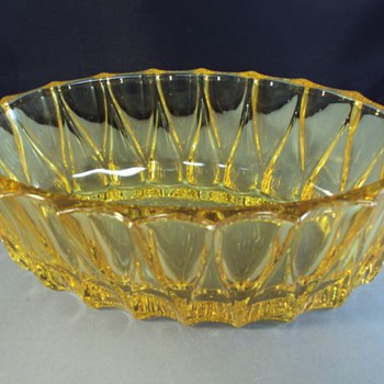 thick yellow glass depression bowl? - Glassware