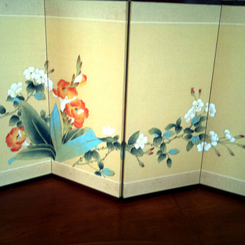 Asian  4 panel painted screen - Asian