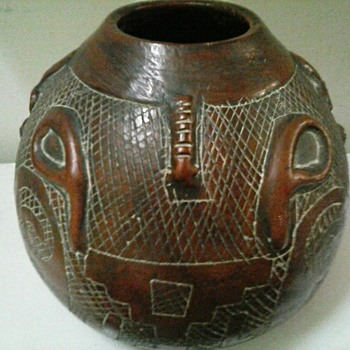 "Unusual Terra Cotta Incised and Relief Decorated Vessel 7"" x 8"" Dia. / Unknown Maker and Age - Art Pottery"
