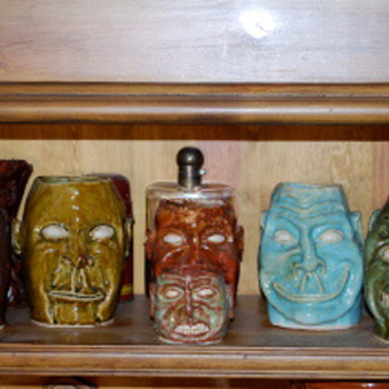 MY Collection of Jack Wittenbrink Pottery , Face Vases,  Artist New Orleans - Art Pottery