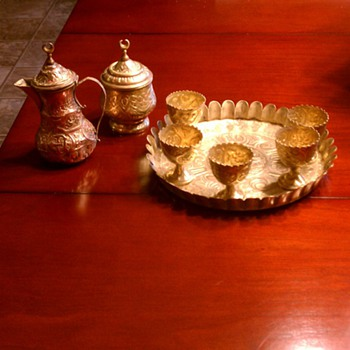 Arabic copper brass tea set