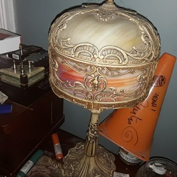 My great grandmother's slag glass lamp from 1908. Unknown maker.