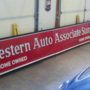Western Auto porcelain sign...large and in charge. Saw one of these on the 'bay yesterday for 10k. Really???