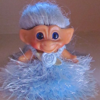 1960's Scandia Troll with blue spiral eyes and very long, rooted, shimmery tresses