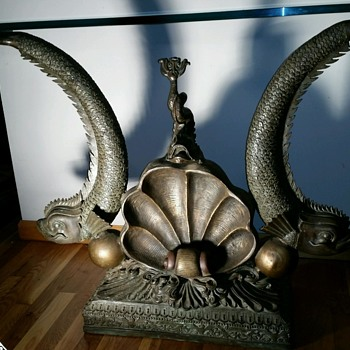bronze hand carved koi and shell table - Furniture